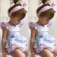 New Sweet Baby Girls Floral Romper Jumpsuit Outfits Sleeveless Toddler Newborn Lovely Adorable Kids Summer Clothes 0-3Y