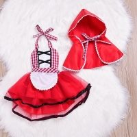 Newborn Cosplay Baby Girl Red Tutu Dress Little Red Riding Hood Photo Prop Costume Girls Party Dress +Cape Cloak Outfit