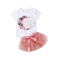 0-24M  Newborn Baby Girl Toddler Floral Cotton Romper + Lace Tutu Skirt Baby Clothing