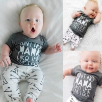 Newborn Baby Boy Girl Clothes Set Mama's boy 2019 Summer Cotton T-shirt+Arrow Pants 2 Pieces Infant Toddle Clothing Outfit 0-24M