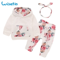 Spring Baby Girl Clothes Flower Newbron Clothes Set For Girl Baby Clothing With Headband Floral Newborn Baby Girl Clothes 6month