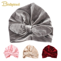New Velvet Baby Hat for Girls Autumn Winter Baby Boy Cap Photography Props Elastic Infant Beanie Turban Hat Baby Accessories