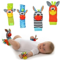 High quality 2/4Pcs Baby Rattle Toy wrist Socks Animal Cute Cartoon Baby Socks with retail package 20%Off