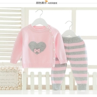 2018 Baby Girl Boy Knitted Autumn Sweater Kids Knitting Outwear Long Sleeve Baby Clothes Clothing 2Pieces(Tops+Pants)