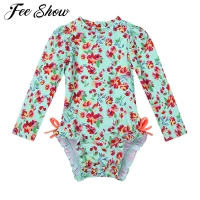 Baby Toddler Girls One-piece Long Sleeves Swimwear Floral Printed Back Zipper with Ruffled Side Swimsuit Bathing Suit Rash Guard