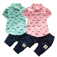 Baby Boy Clothing Sets Bebe Fashion T-shirt+Solid Pants Set Summer Kid Outfit Toddler Children Cotton Tracksuit Clothes