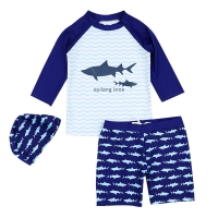 Summer Kids Boy Swimwear for Boys Fashion Cartoon 3Pcs Children Swimsuits with Sun Cap Toddler Baby Girl Beach Bath Clothes