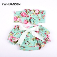 YWHUANSEN 2pcs/set Princess Panties With Headband Floral Ruffles Girls Briefs Fashion Panties For Girls Underwear Children's