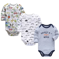 Baby Boys Clothes Newborn Babies Girls Underwear 3 Pack Infant Long Sleeve 3 6 9 12 18 24 Months Clothing