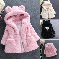 New Fashion Winter Baby Girls Clothes Faux Fur Fleece Coat Pageant Warm Jacket Xmas Snowsuit 1-8Y Baby Hooded Jacket Outerwear