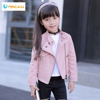 girls pu jacket rivet zipper cool jacket Leather clothing for girls 5-13 years oldClassic collar zipper leather motorcycle