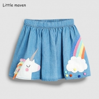 Little maven 2019 new summer baby girl clothes animal rainbow embroidery cotton mini skirts S0498
