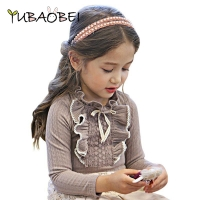 Girl Lace Ruffle Collar Shirt Child Clothing Gray/ White Autumn Long Sleeve Little Girls Kids Cotton Blouse Wedding Party Blusas